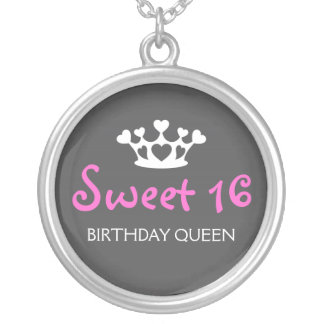 Sweet Sixteen Birthday Queen - Fuchsia and Gray Round Pendant Necklace