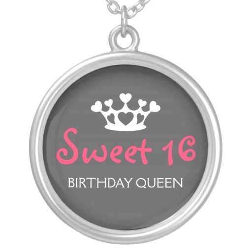 Sweet Sixteen Birthday Queen - Neon Pink and Gray Necklaces