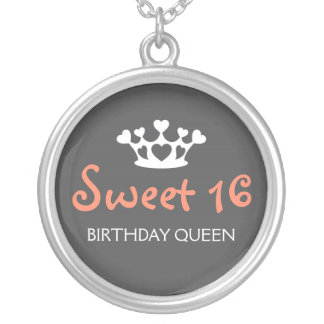 Sweet Sixteen Birthday Queen - Pink and Gray Round Pendant Necklace