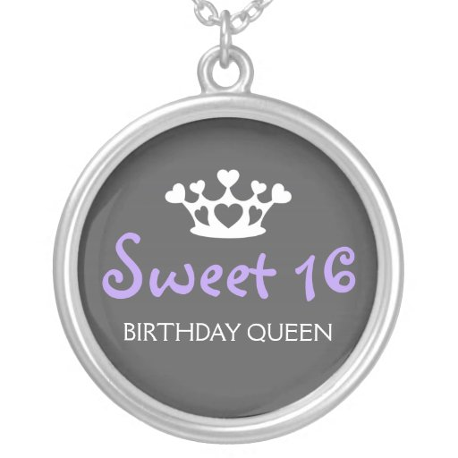 Sweet Sixteen Birthday Queen - Purple and Gray Personalized Necklace