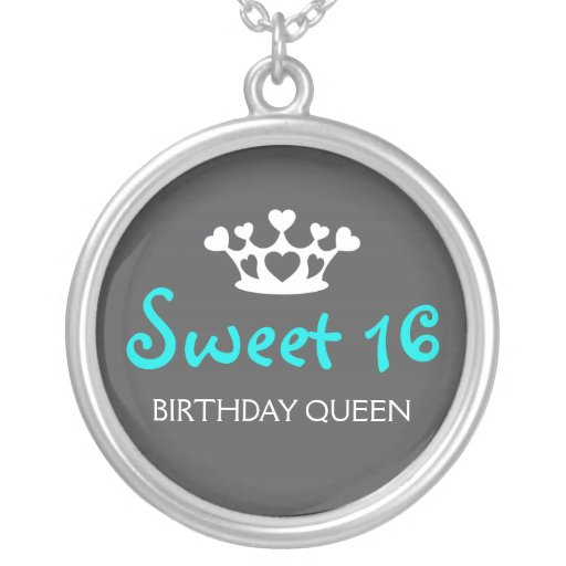 Sweet Sixteen Birthday Queen - Teal and Gray Necklace