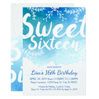 Sweet Sixteen, Blue Watercolor Invitations