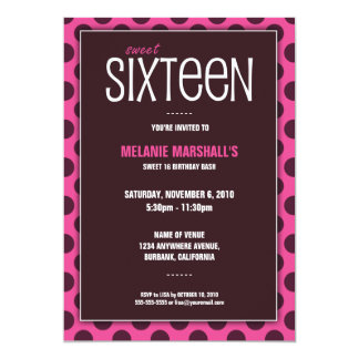 Sweet Sixteen Chocolate & Pink | Party Invitations