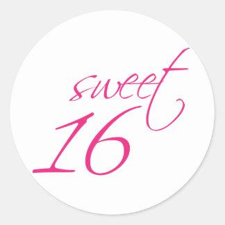 Sweet Sixteen Classic Round Sticker