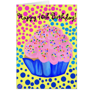 Sweet Sixteen Cupcake Birthday Card
