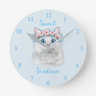 Sweet Sixteen Cute Kitten Round Clock