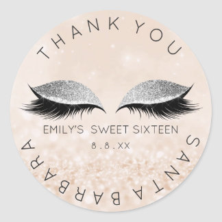 Sweet Sixteen Diamond Eyes Ivory Lashes Glitter Round Sticker