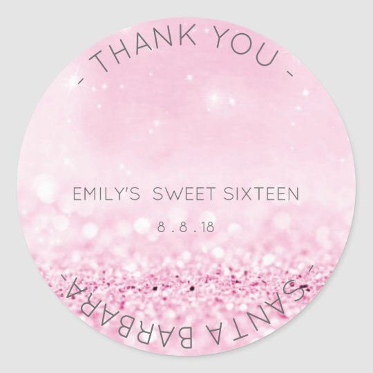Sweet Sixteen Diamond Pink Rose Sparkly Glitter Round