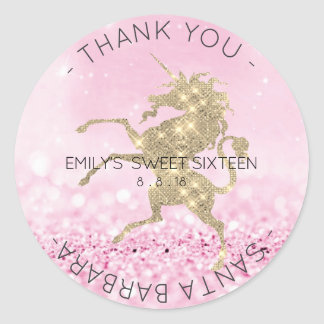Sweet Sixteen Diamond Pink Rose Unicorn Glitter Classic Round Sticker