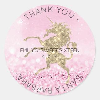 Sweet Sixteen Diamond Pink Rose Unicorn Glitter Round Sticker