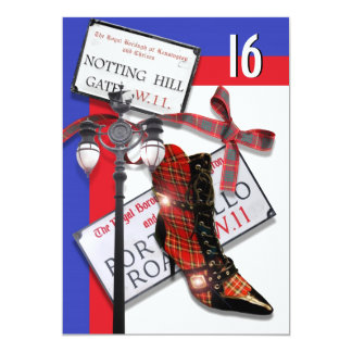 """sweet sixteen"" fashion shopping British party 13 Cm X 18 Cm Invitation Card"