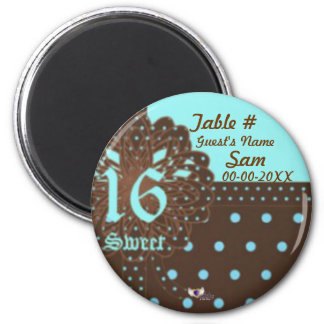 Sweet Sixteen Gifted Place Magnet-Cust. 6 Cm Round Magnet