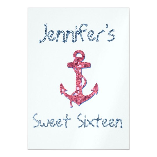 Sweet Sixteen Girly, Fun, Pink Glitter Anchor Card