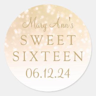 Sweet Sixteen Gold Bokeh Sparkle Lights Round Sticker