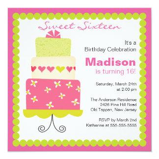 Sweet Sixteen Green & Pink Cake Birthday Invite