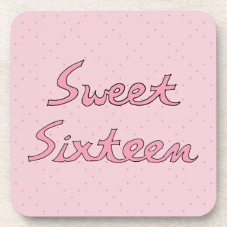 Sweet Sixteen in Pink Lettering Coasters