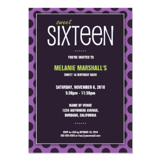 Sweet Sixteen Lime & Purple | Party Invitations