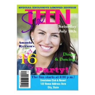 Sweet Sixteen | Magazine Cover Style | Photo 13 Cm X 18 Cm Invitation Card
