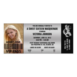 Sweet Sixteen Masquerade VIP Admission Ticket 10 Cm X 24 Cm Invitation Card