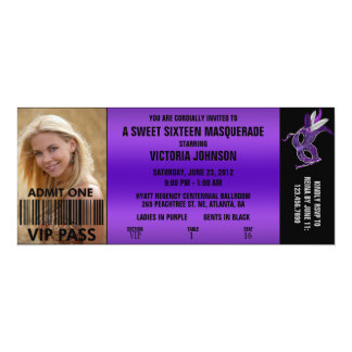 Sweet Sixteen Masquerade VIP Admission Ticket Card