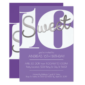 Sweet Sixteen, Modern Silver Birthday Invitations