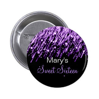 Sweet Sixteen Party Falling Stars Purple 6 Cm Round Badge