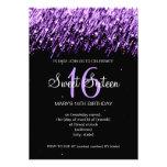 Sweet Sixteen Party Falling Stars Purple Invites