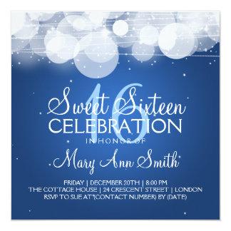 Sweet Sixteen Party Glow & Sparkle Blue 13 Cm X 13 Cm Square Invitation Card