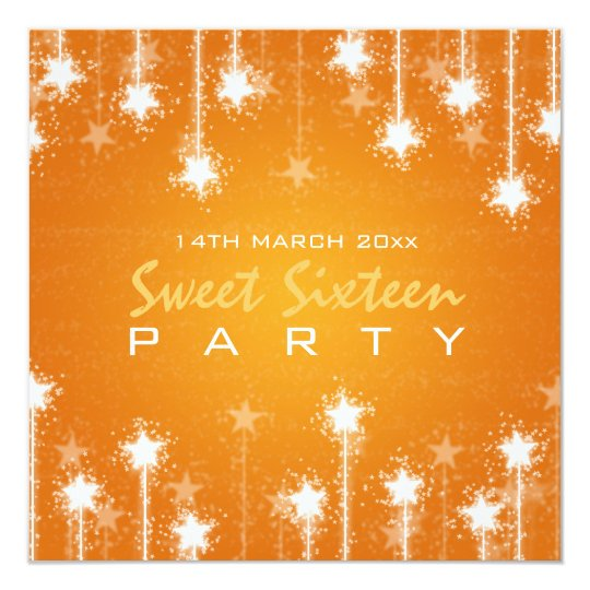 Sweet Sixteen Party Shimmering Stars Orange Card