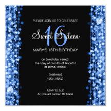 Sweet Sixteen Party Sparkles Blue 13 Cm X 13 Cm Square Invitation Card