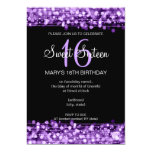 Sweet Sixteen Party Sparkles Purple 13 Cm X 18 Cm Invitation Card