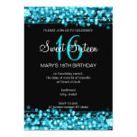 Sweet Sixteen Party Sparkles Turquoise 13 Cm X 18 Cm Invitation Card
