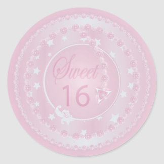 Sweet Sixteen Pink Birthday Classic Round Sticker