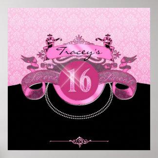 Sweet Sixteen Pink Damask Poster