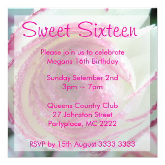 Sweet Sixteen Pink Edged Rose Party Invitations