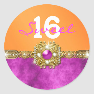 """sweet sixteen"" pink orange 16 birthday classic round sticker"