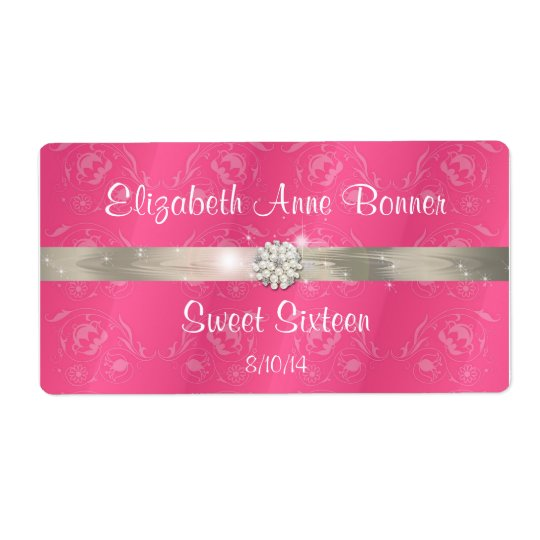 Sweet Sixteen Pink with Pearls Water Bottle Labels
