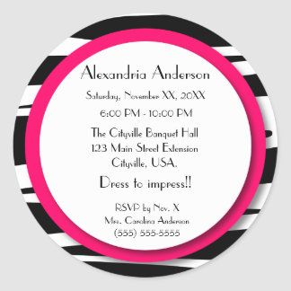 Sweet Sixteen Pink Zebra Lollipop Invitation Back Classic Round Sticker