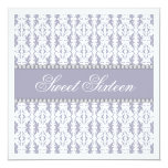 Sweet Sixteen Purple White Damask Lace Jewel Party 13 Cm X 13 Cm Square Invitation Card