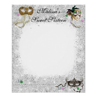 Sweet Sixteen,Quinceanera, Masquerade Signin Board Posters