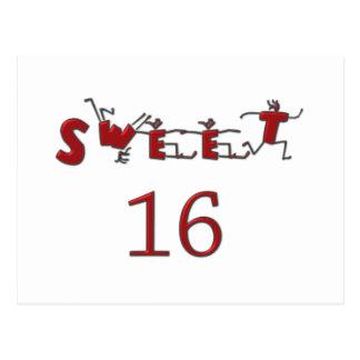 Sweet Sixteen Red Postcard