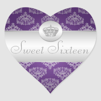 Sweet Sixteen Royal Crown Purple Heart Sticker