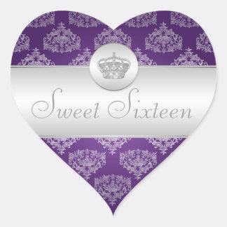 Sweet Sixteen Royal Crown Purple Heart Sticker
