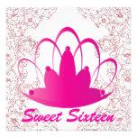 Sweet Sixteen Royal Tiara Fuschia White Invitation