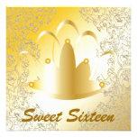 Sweet Sixteen Royal Tiara Gold Invitation