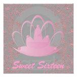 Sweet Sixteen Royal Tiara Pink Grey Invitation