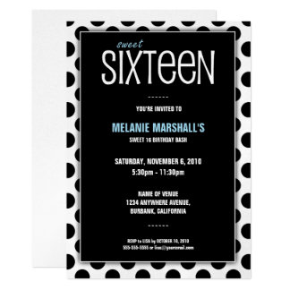 Sweet Sixteen Silver & Black   Party Invitations