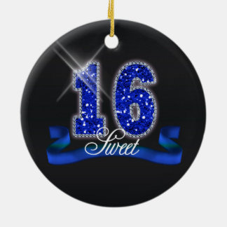Sweet Sixteen Sparkle Blue ID118 Round Ceramic Decoration