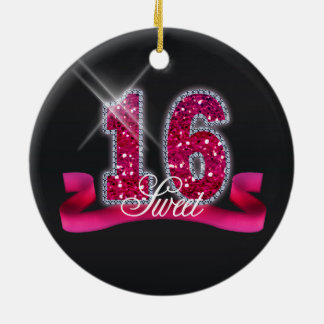 Sweet Sixteen Sparkle Pink ID117 Round Ceramic Decoration