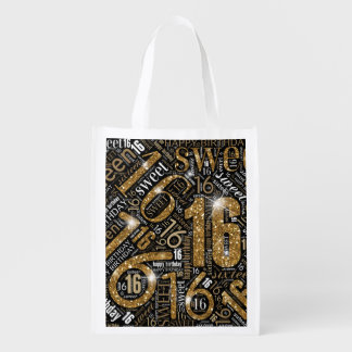 Sweet Sixteen Sparkle Word Cloud Gold ID265 Reusable Grocery Bag